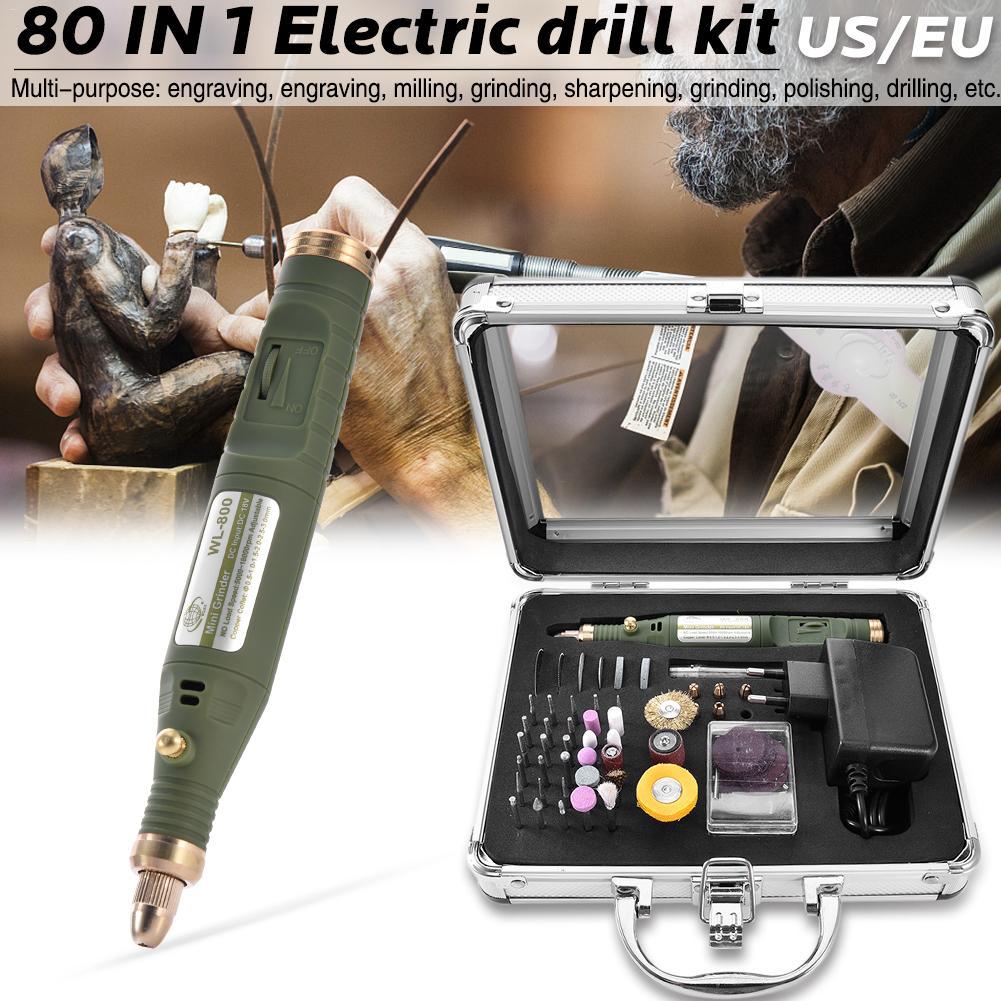 Mini taladro rotativo eléctrico 80 en 1, con juego de accesorios de molienda, máquina de grabado multifunción, Kit de herramientas eléctricas #35