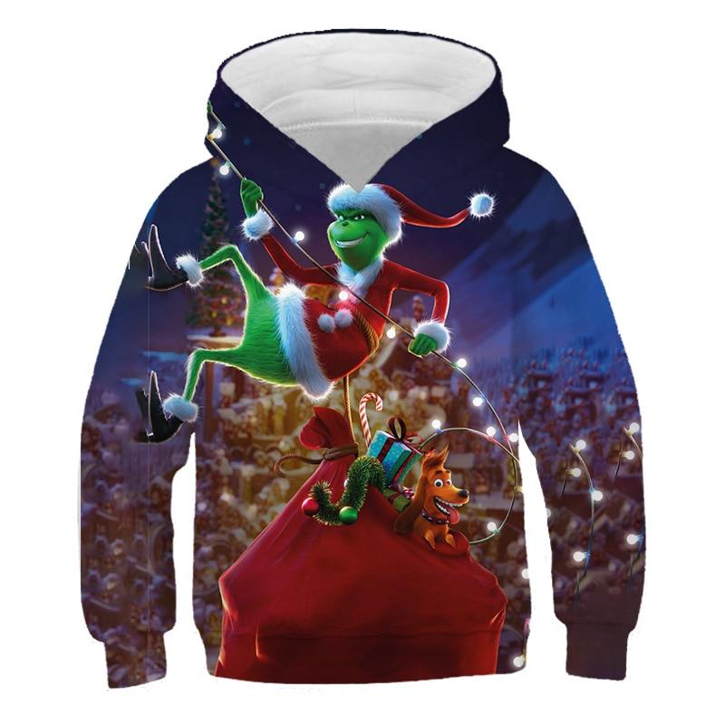 Niños trajes de Navidad Tops Película Grinch Impresión 3D Harajuku Otoño Poliéster...