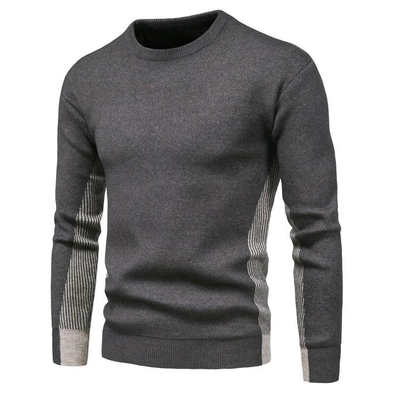 Новинка 2020, пуловеры с круглым вырезом, мужской свитер, Повседневный свитер в полоску, мужской осенний Модный облегающий мужской свитер