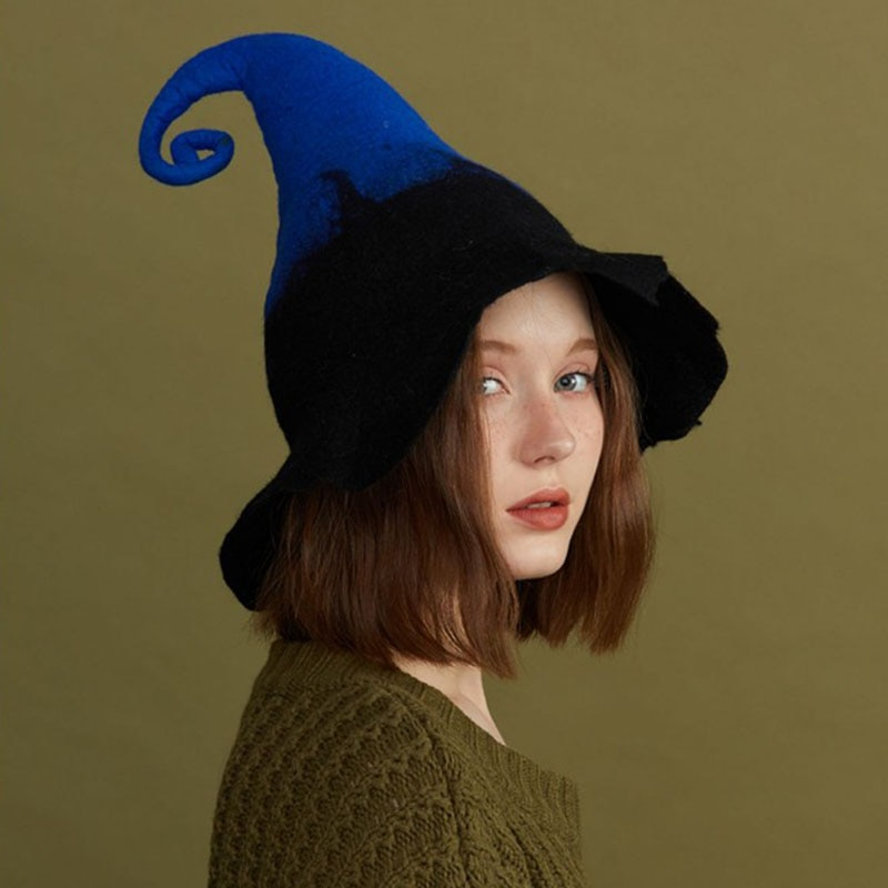 Magician Black Blue Hat Elf Hats Halloween Witch Hats Children's Adult Witch Hat  Halloween Decoration Party Decorations Шляпа