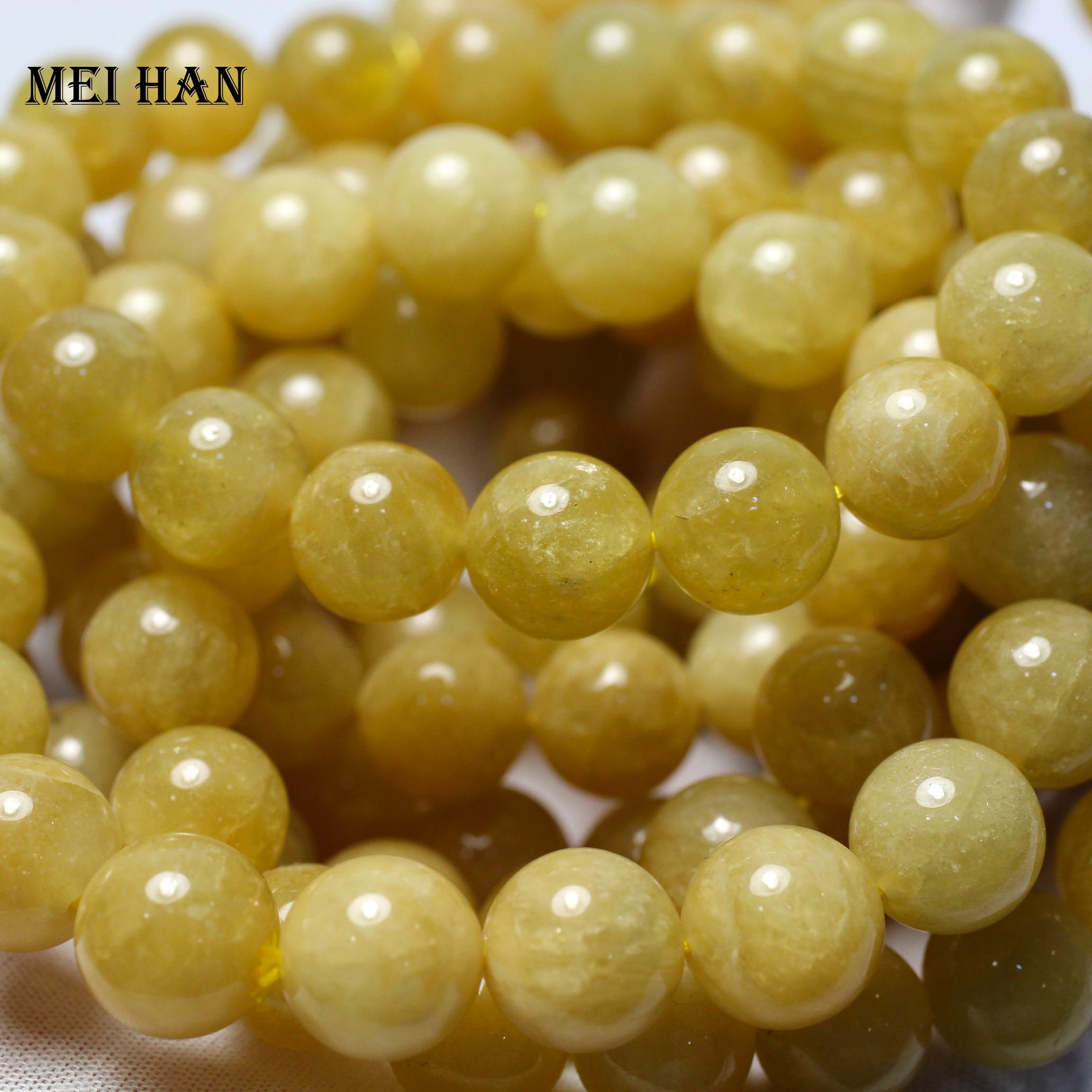 Meihan natural yellow beryll 12+-0.3mm (1 bracelet/set) cyclosilicate fashion charm gem stone loose beads for DIY bracelet