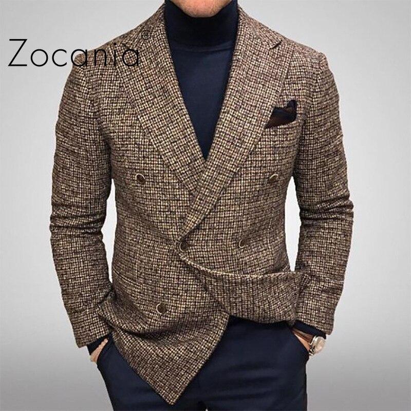 Классический мужской блейзер, деловой костюм, Мужская облегающая осенняя одежда, Мужской Блейзер, Клетчатая Мужская куртка, Мужская одежда