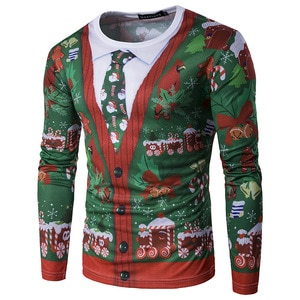 Fake Two Pieces 3D Christmas T Shirt Men 2020 Xmas Tree Print Tee Shirt Homme Harajuku Hip Hop Funny T Shirts Christmas Costume