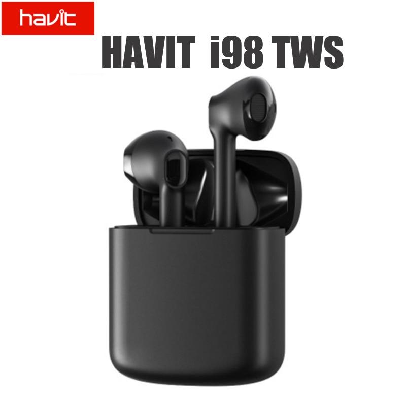 Fone de Ouvido Estéreo sem Fio Bluetooth à Prova Água para Controle Havit Chamadas Handsfree Dwaterproof Toque Smartphone Tws I98