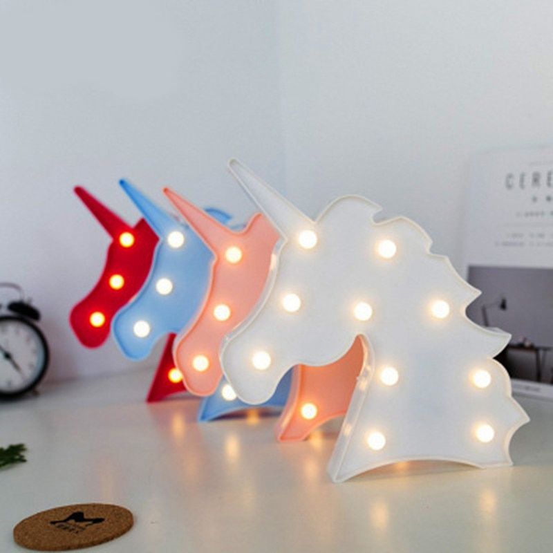 LED Night Light Animal Table Lamp Unicorn Giraffe Novelty Gifts Colorful Cartoon Ornaments Home Lighting Decor Battery Powered
