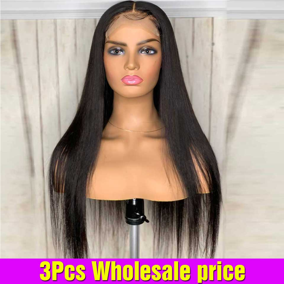 3PCS Wholesale Brazilian Bone Straight Lace Front Wig Closure Wig Pre Plucked Frontal Wig LaceFront Human Hair Wigs For Women