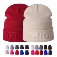 new winter hat king queen beanies fashion hip hop couples cap casual solid hat men woman warm knitted beanie ski skullies bonnet