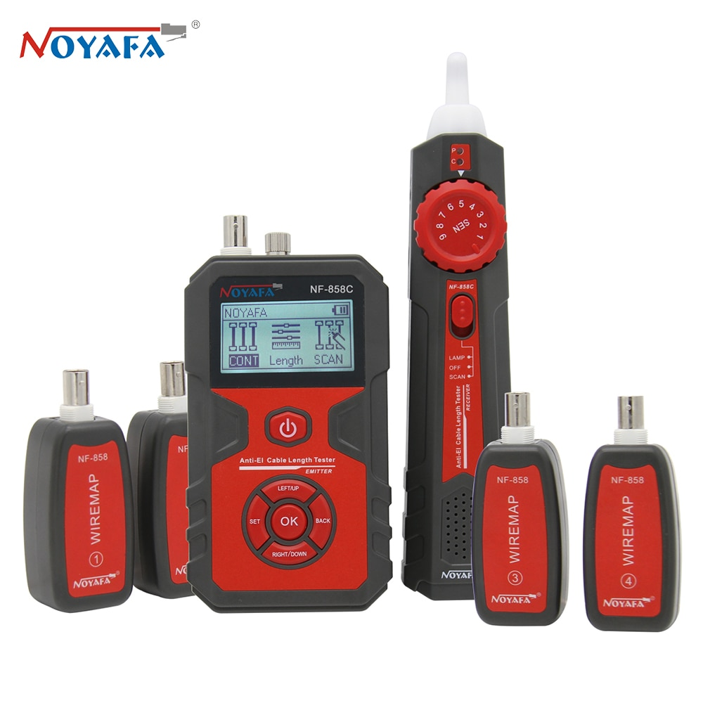 Noyafa NF-858C Cable Tester Line Locator Portable Wire Tracker Line Finder Network Cable Test RJ11 RJ45 BNC Measure Cable Length
