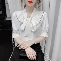 2021 new bow tie chiffon shirt summer ladies shirt french short sleeve top women shirts blouses regular bow casual shirts