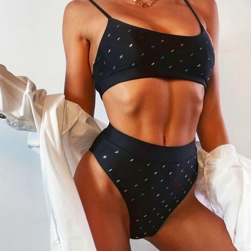 Sexy Backless Spaghetti Strap High Waist Rhinestone Triangle Bikini Set Summer Ladies Bikini Brazilian Push Up Bodysuit Swimsuit burgundy sexy backless self tie bikini set