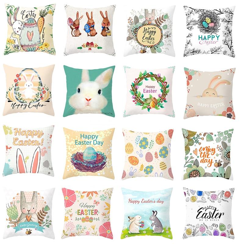 Funda de cojín de conejo con dibujos animados de huevo de Pascua funda de cojín con estampado de conejito funda de cojín de sofá funda de almohada de poliéster para decoración de Pascua