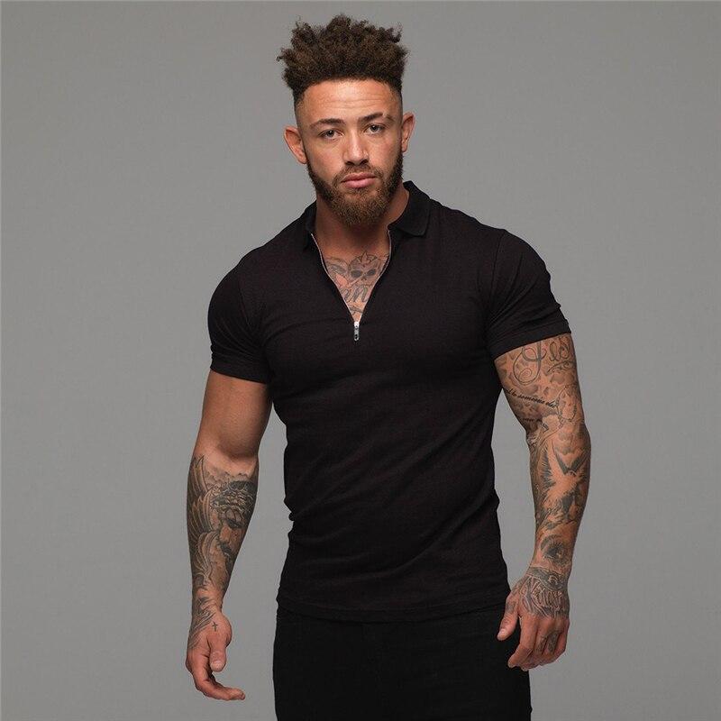 O homem da moda polo camisa casual moda cor lisa manga curta de alta qualidade magro camisa polo masculino fitness polo homme