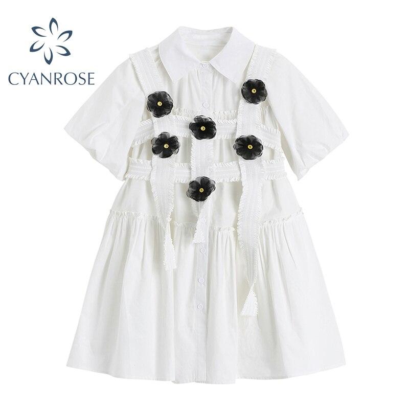 Fashion Elegan White Mini Dress Women Short Sleeve Summer Party Birthday Festival Sweet Cute Sexy French Romantic Vintage Dress