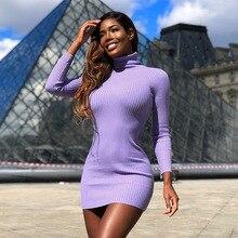 Hirigin tricoté chaud automne décontracté femmes Mini robe col roulé côtelé violet moulante Clubwear dame solide robe crayon