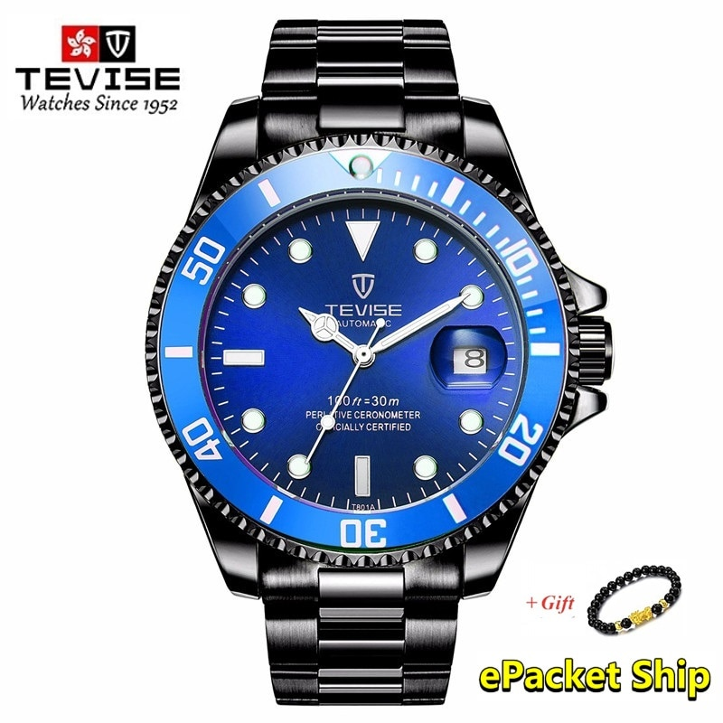 TEVISE Men Mechanical Watches Automatic Waterproof Stainless Steel Men Business Gold Quzrtz Wristwat