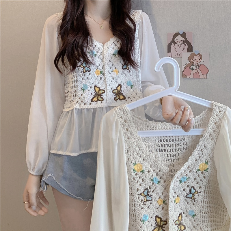 Chiffon Shirt Is Beautiful Summer Woman's Hollow Out Gentle Wind Loose 2021 New Sunscreen Clothes Sm