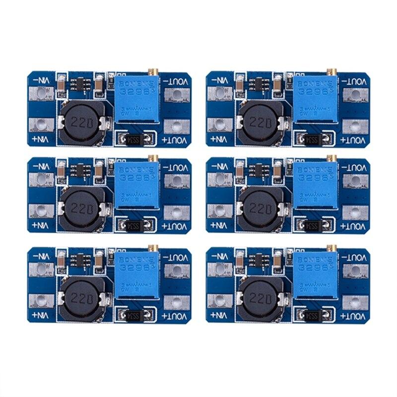 Os 6 pces superiores mt3608 dc 2a intensificam o conversor do impulso do módulo 2v-24v do impulsionador de potência para arduino