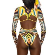 Exotic Style Plus Size Swimsuit Women Swimwear Womens Digital Totem Print Sexy Mesh One-piece Suits Swimsuit Bikini Biquini #W