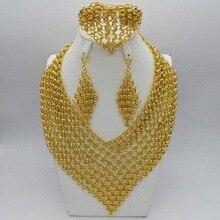 2019 nouveau en gros magnifique africain les perles bijoux ensembles couleur or collier ensemble de mariage mode Dubai bijoux pour femmes