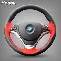 hand stitched black red leather car steering wheel cover for bmw x1 2012 2015