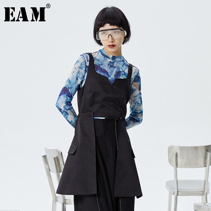 [Eam] feminino solto ajuste preto breve removível divisão conjunta colete novo decote em v sem mangas moda maré primavera verão 2020 1s978