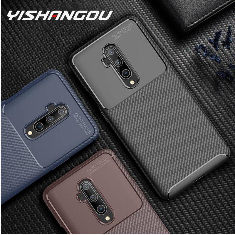 Luxo caso de carbono para oneplus 7t pro 7t caso à prova de choque capa silicone original oneplus7t telefone caso para um plus 7t pro 6t 6