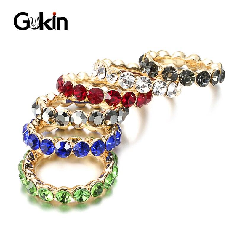 Gukin anillo de cristal a la moda joyería para mujer bohemio colorido arcoíris anillo mujer Diy anillos de declaración joyería de la boda del partido