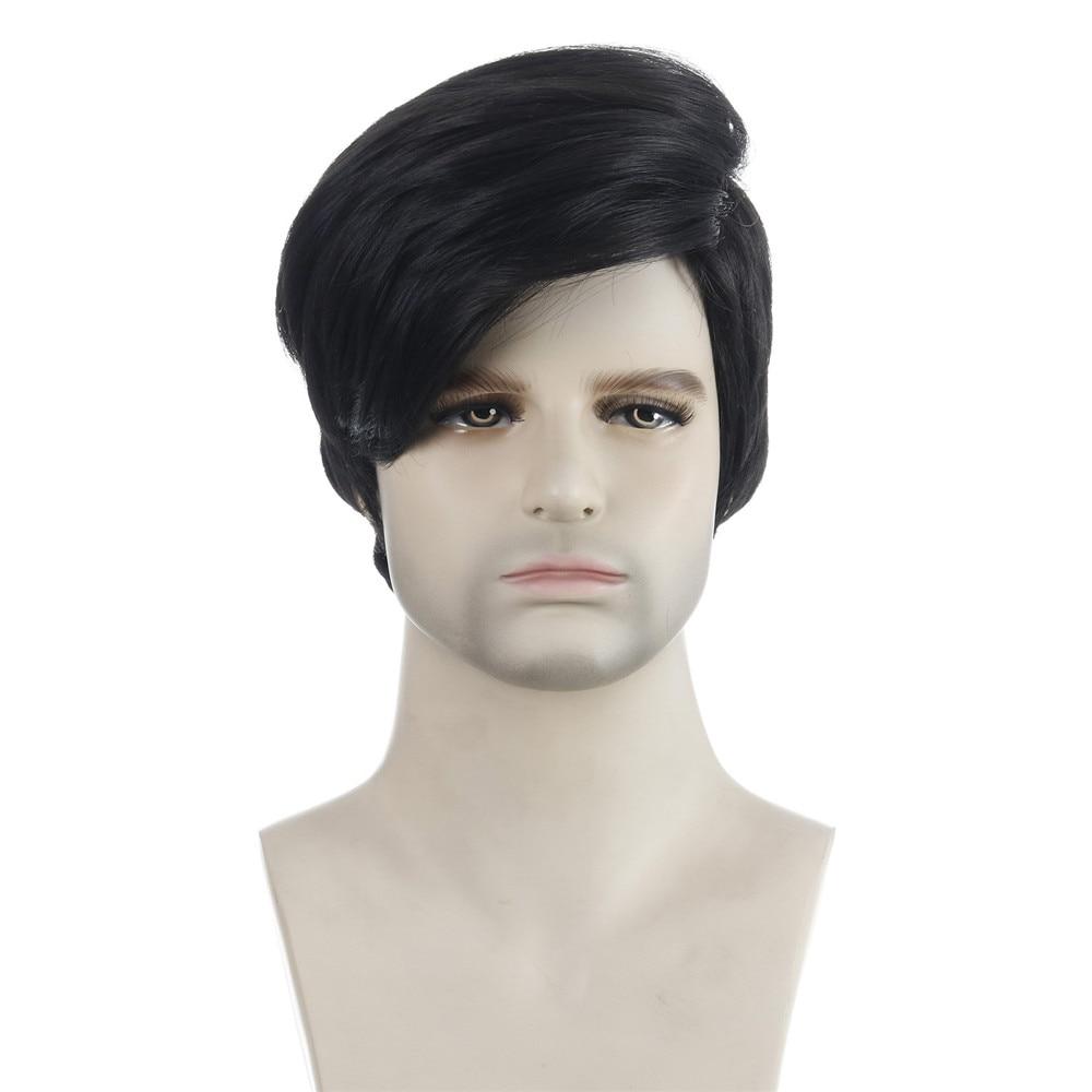 peruca masculina curta natureza peruca sintetica preta natureza ondulado resistente