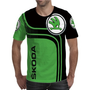New Skoda Foreign Trade Men's Breathable Round Neck T-shirt 3D Car Logo Series Digital Printing Sports Leisure Short Sleeves