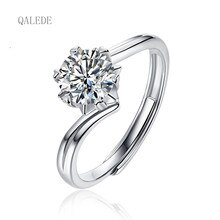 QALEDE Women Rings S925 Silver Inlaid D Color Moissanite Ring High Quality Couple Live Buckle Rings