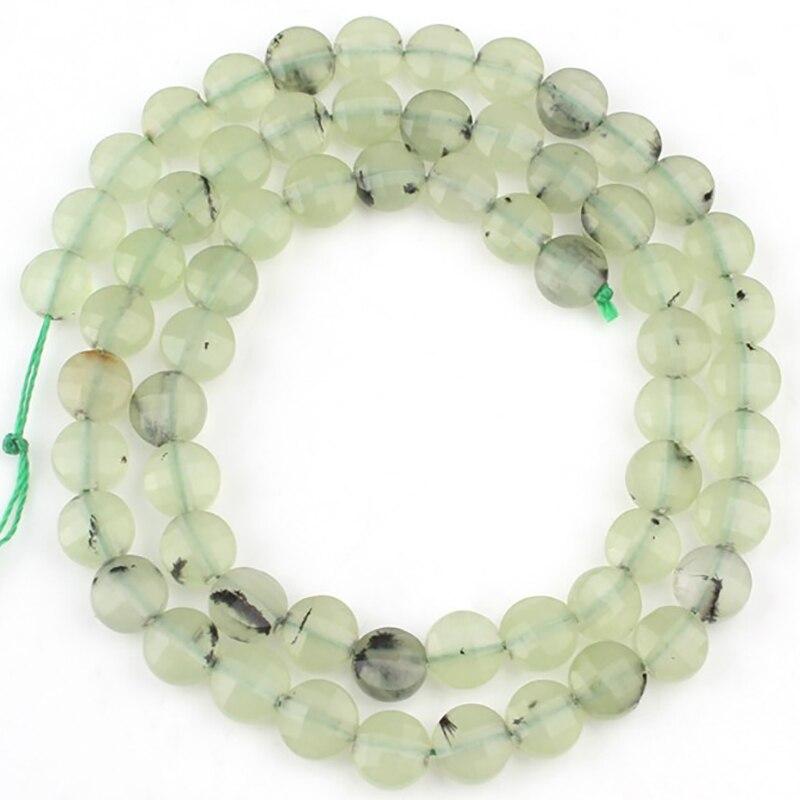 """6x6mm Natural facetado verde cuentas de piedra plana redonda suelta Rondelle cuenta para fabricación de joyería DIY Perles pulseras 15 """"pulgadas"""