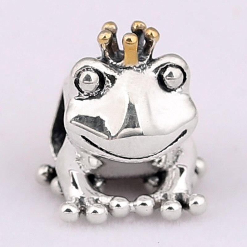 Original lindo príncipe Rana con cuentas de corona de oro ajuste cuenta en plata esterlina 925 encanto Pandora pulsera brazalete Diy joyería