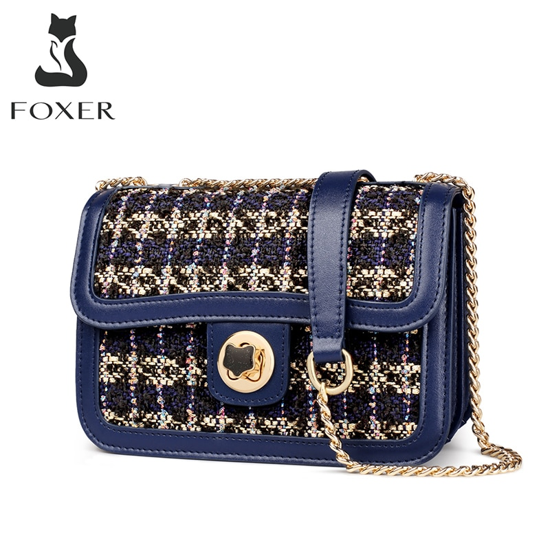 FOXER 2020 موضة السيدات حقيبة كتف صغيرة المرأة متعددة المقصورات سلسلة حقيبة كروسبودي مصمم حقيبة ساع صغيرة