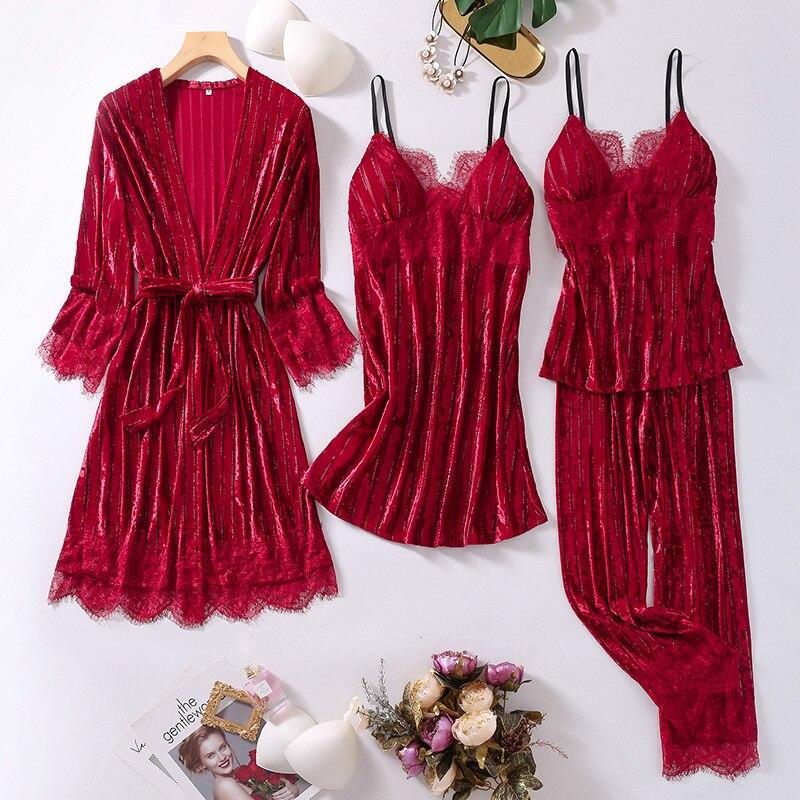 الخريف القطيفة رشاقته إمرأة 4 قطعة منامة مجموعات ملابس خاصة الصدر منصات ثياب النوم مثير لينة الدانتيل Nightshirts الملابس الداخلية Homewear