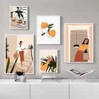 Abstrait mode fille plante moderne mur Art toile peinture nordique affiches et impressions photos murales pour salon decor a la maison