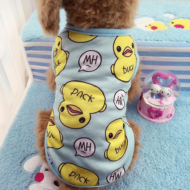 Chaleco de verano para perro mascota pato de moda camiseta de cachorro transpirable ropa suave para perros