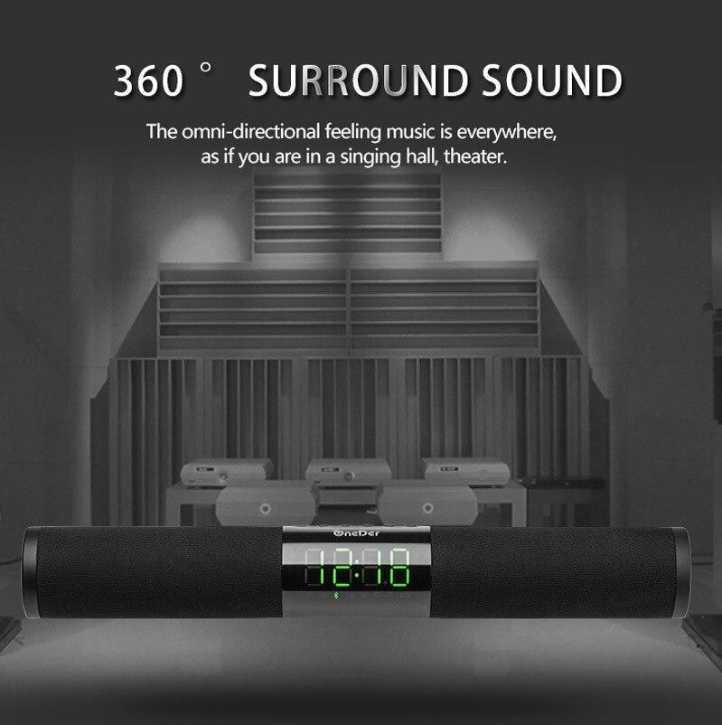 Home Theater Portable Column Bluetooth Soundbar Home TV Speaker Wireless Remote Control Alarm Clock Radio Subwoofer for AUX USB enlarge