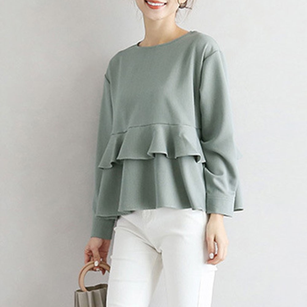 Japanese And Korean Style Top Stitching Ruffled Shirt Long-sleeved Solid Color Round Neck Shirt Autu