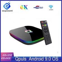 Android 9,0 TV Box Q Plus caja 4GB64GB 4GB 32GB Dispositivo de TV inteligente Allwinner H6 Quad Core 6K H.265 2,4 GHz Wifi Set Top Box