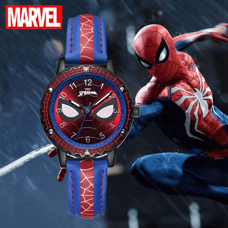 Часы-паук мужские наручные с супергероями, спортивные крутые Молодежные с мягким ремешком для подростков, с надписью «Человек-паук»