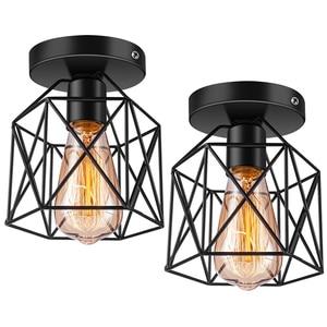 Semi-Flush Mount Ceiling Light E26 Retro Black Industrial Ceiling Light Fixture for Porch Kitchen Lighting 2 Pack