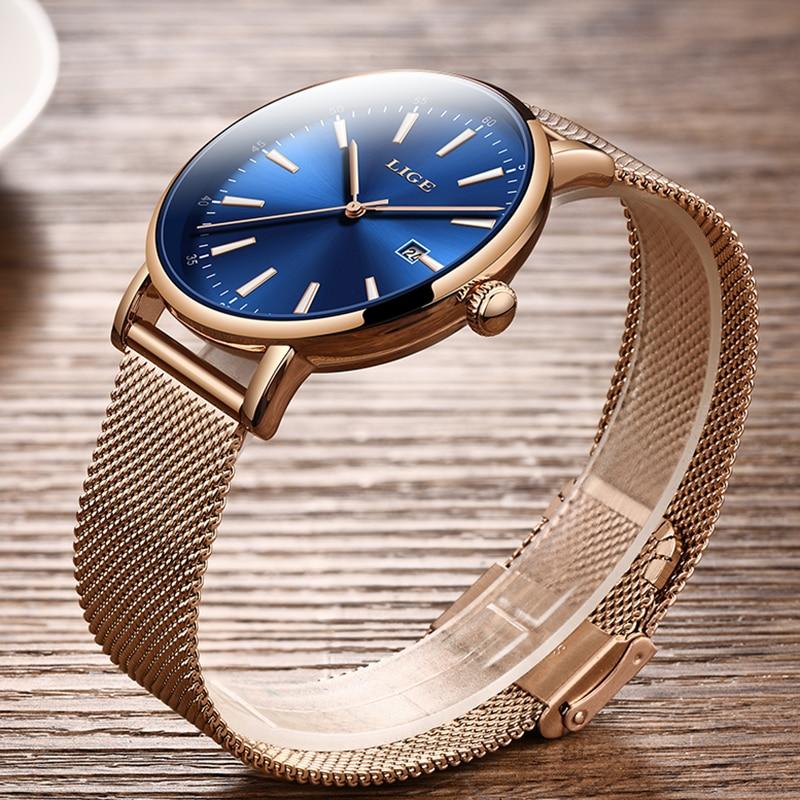 LIGE Top Brand Luxury Ladies Watches Ultra-thin Stainless Steel Mesh Watch Women's Fashion Casual Waterproof Watch Quartz Clock enlarge