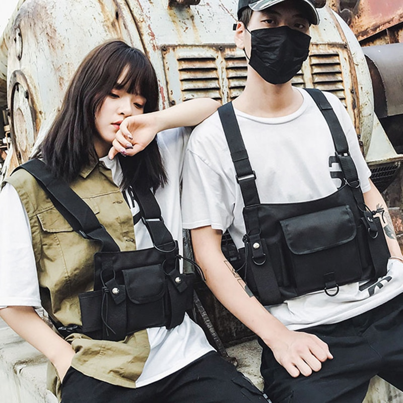 Borsa pettorale tattica funzionale per uomo donna moda Sport gilet Hip Hop borsa Streetwear marsupio borsa Rig Unisex nera