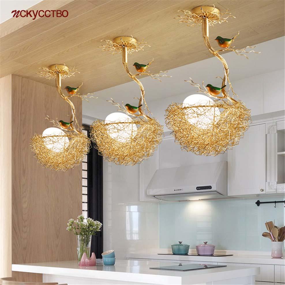 الشمال البلاد عش الطيور الزجاج قلادة أضواء ل غرفة الطعام المطبخ القطني ديكو تعليق الإنارة مقهى بار Led مصباح