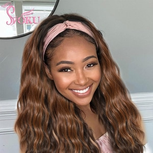 20 inches Long headband wigs natural wave wavy brown hair with highlights for black women Soku Glueless Machine Made daily Wig