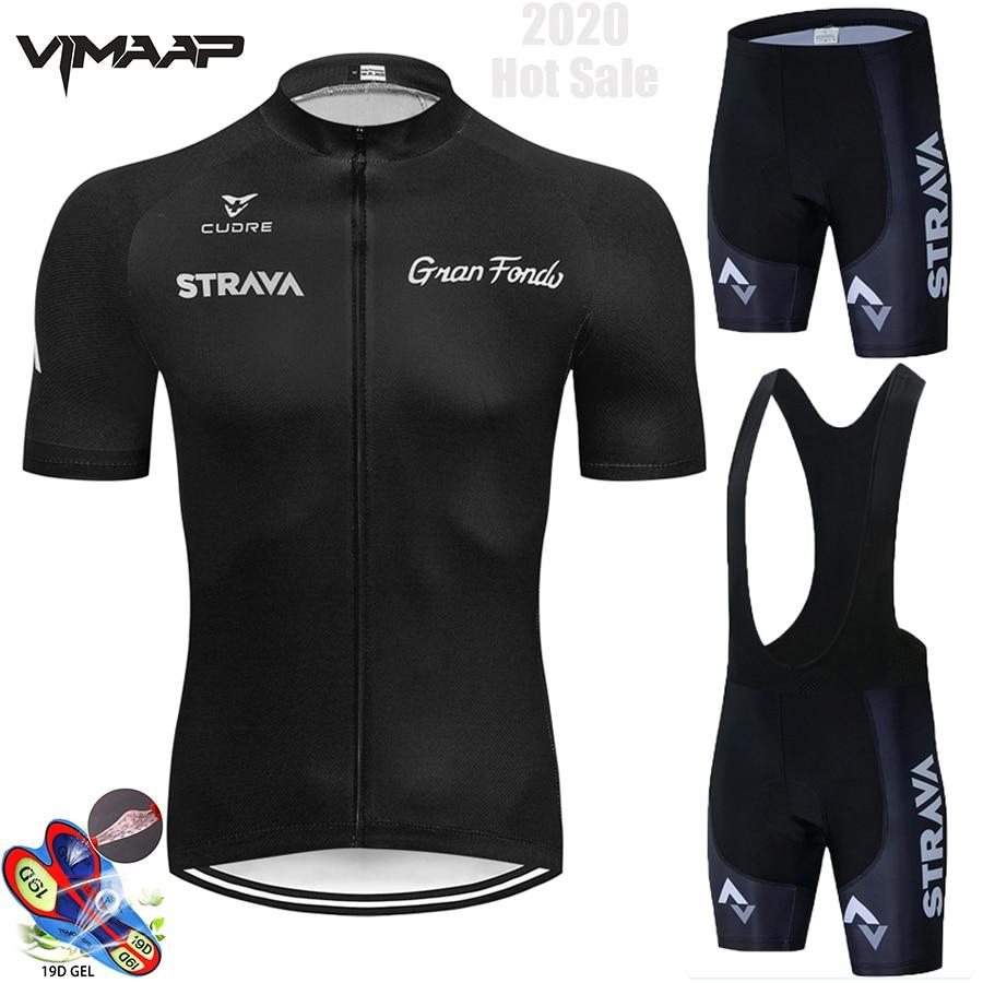 2021 STRAVA Black Cycling Jersey 19D Bib Set MTB Uniform Bike Clothing Quick Dry Bicycle Wear Clothes Mens Short Maillot Culotte