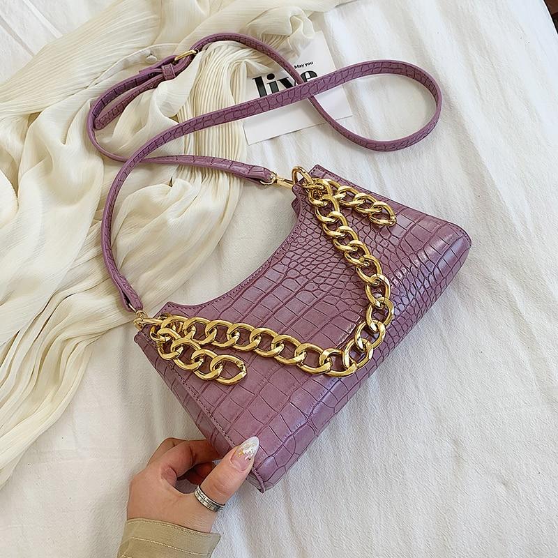 Women Underarm Bag Stone Pattern Pu Leather For Women 2020 Summer Chain Design Small Shoulder Bag Luxury Armpit Bag
