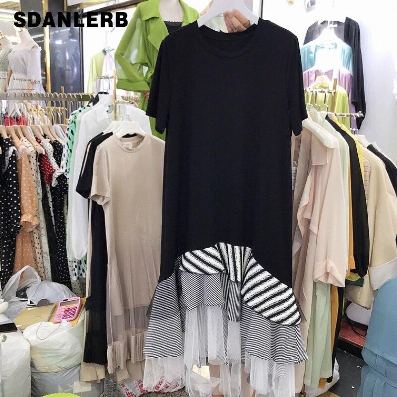 2019 Primavera Verano nuevo estilo coreano suelta Irregular Panel de malla rayado Ruffle Midi vestido de Mujer Vestidos estudiantes T vestido