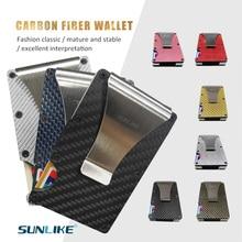 SULIKE nouvelle mode mince en Fiber de carbone crédit support de carte RFID Non-scan métal portefeuille sac à main mâle Carteira Masculina Billetera