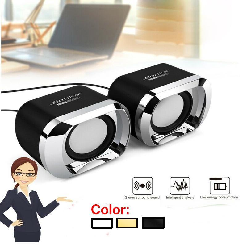 Minialtavoces de ordenador HobbyLane, USB AUX Jack 3,5mm, PC, escritorio, portátil, estéreo, con cable, sonido, Subwoofer, altavoces de ordenador d29